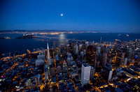 Night time aerial shot of San Francisco during a full moon
