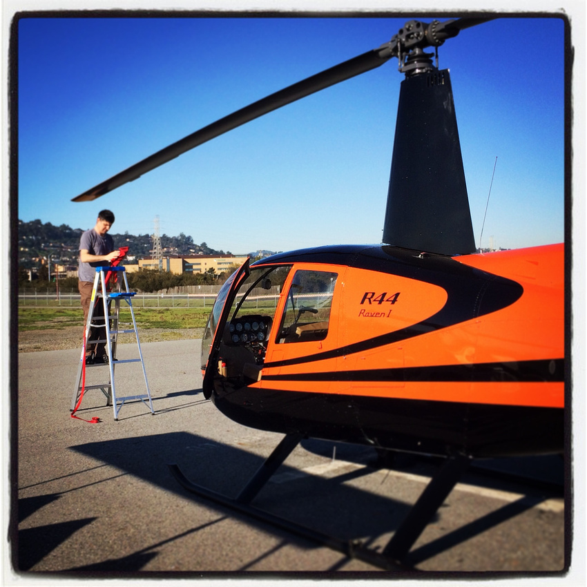 Pre-flighting the helicopter for an aerial scout