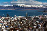Aerial photo of Hallgrímskirkja Church and Njarðargata