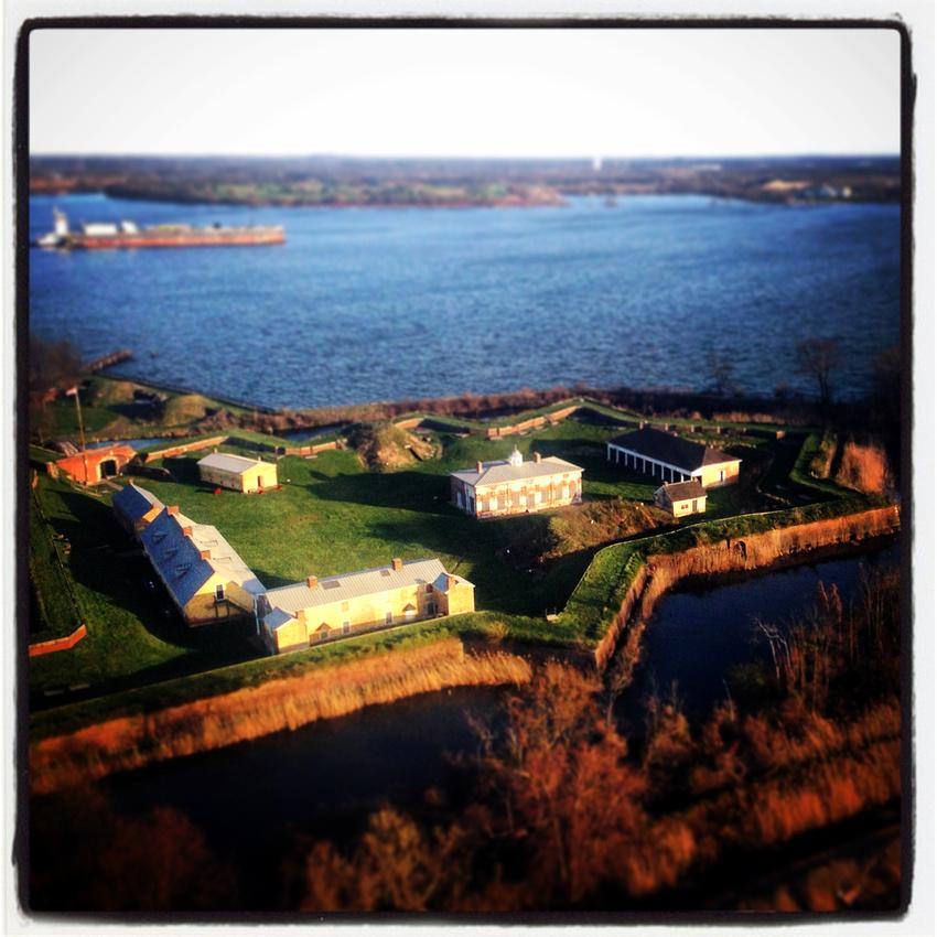 Aerial photo of Fort Mifflin, a Revolutionary War era fort on the Delaware River near Philadelphia International Airport