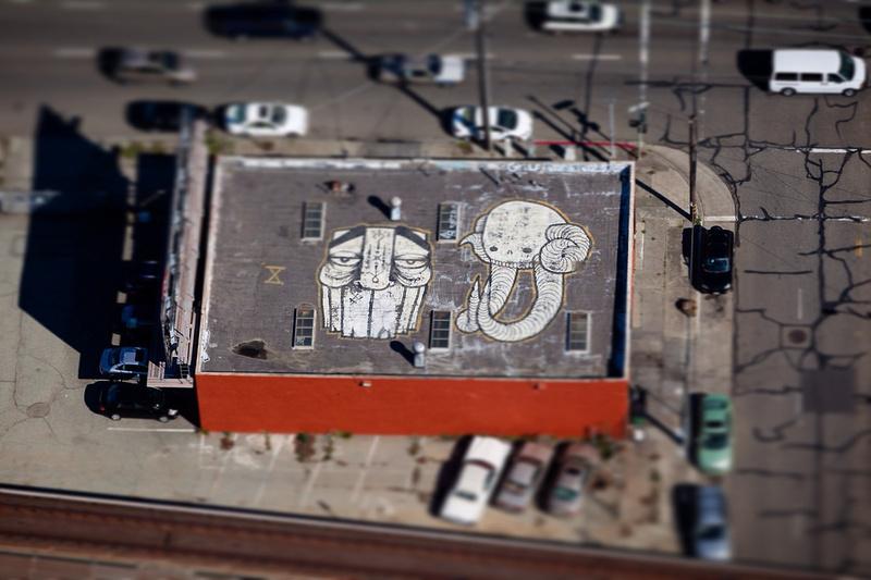 Aerial shot of Oakland graffiti artists Swampy and GATS