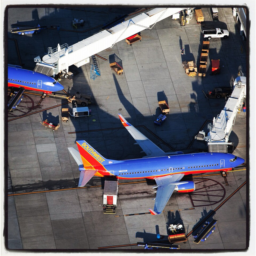 Aerial photograph of Southwest Airlines planes at Oakland Airport