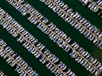 An aerial view of South Beach Harbor where the waiting list for a berth can be over 6 years.