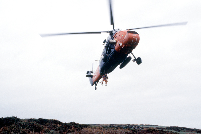 Search and Rescue practice pickup in a Westland Wessex from 771 Squadron