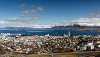 Reykjavik panorama shot from a helicopter