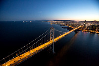 Aerial view of the West Span of the Bay Bridge at dusk