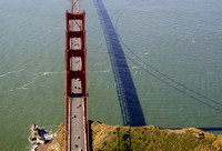 Aerial view of the north tower of the Golden Gate Bridge