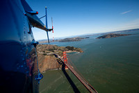 Golden Gate Bridge from a Hughes 500C