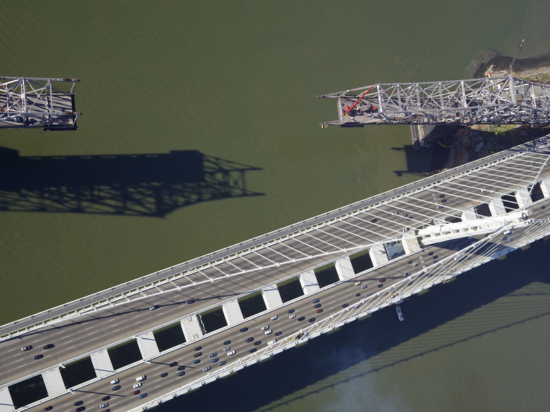 Aerial view of the old span of the Bay Bridge Being dismantled