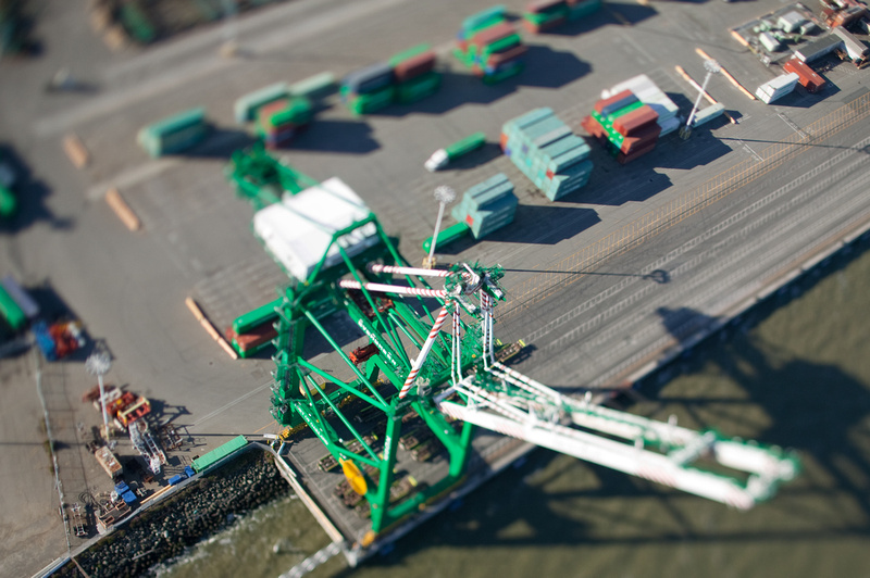 Aerial photo of one of the cranes at the Port of Oakland