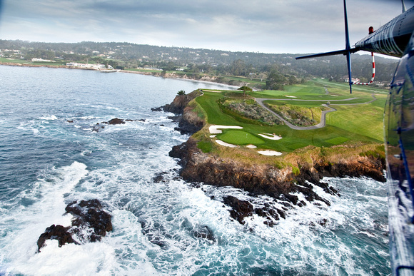 Pebble Beach from a R44